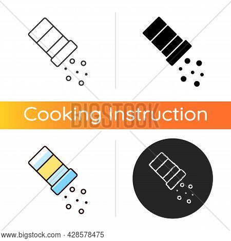 Sprinkle Salt Icon. Seasoning Dish With Pepper. Pouring Condiment. Cooking Instruction For Recipe. F