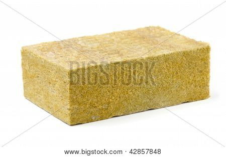 Piece of yellow fiberglass insulation mat isolated on white poster