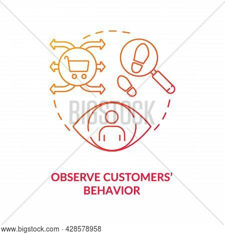 Observe Customers Behavior Red Concept Icon. Tracking Activities Research. Shopping Interaction. Sec