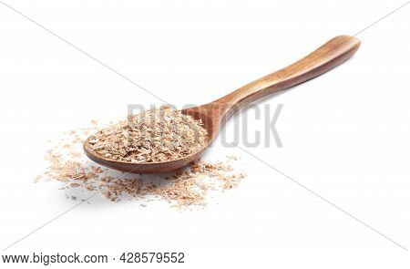 Wooden Spoon With Wheat Bran On White Background