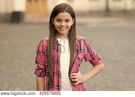 Without Compromising On Comfort. Happy Kid In Casual Style Outdoors. Girl Fashion. Summer Trends. Tr