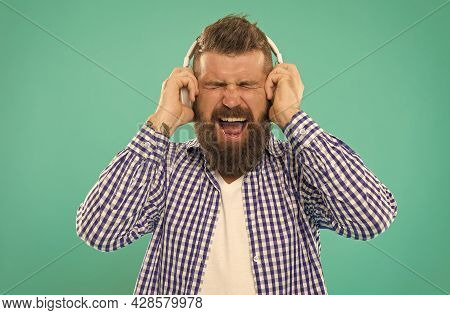 Oh No. Male Express Emotions. Elearning With Audio Book. Bearded Hipster In Checkered Shirt.