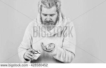 Sick Man With Vitamin Pills. Strengthen Immunity. Medical Prescription. Painkillers Pills. Headache