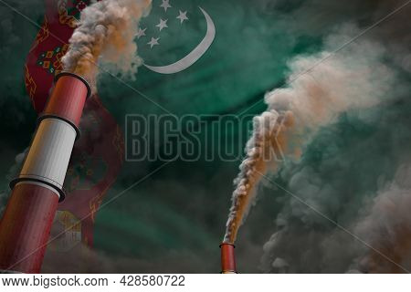 Pollution Fight In Turkmenistan Concept - Industrial 3d Illustration Of Two Huge Plant Pipes With De