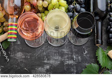 Wine Choice Degustation Tasting. White Wine Rose Red Types Wine In Glasses And Bottles. Different Va