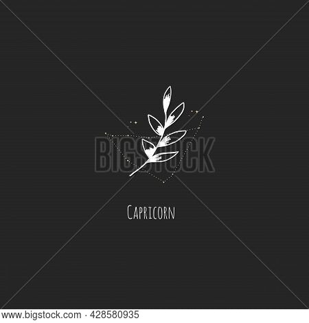 Hand Drawing Capricorn Constellation Symbol With Floral Branch And Stars. Modern Minimalist Mystical