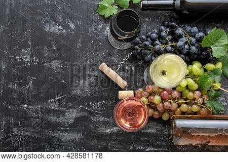 White Wine Rose And Red Wine In Glasses. Types Of Wine In Bottles. Different Varieties Grapes Pink B