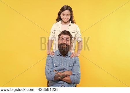 Because Of Child Care Matters. Happy Child And Father Yellow Background. Little Child And Bearded Ma