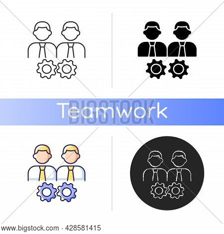Collaboration Icon. Two Men And Gears. Achieve Goal Working Together. Group Members Interacting. Cow