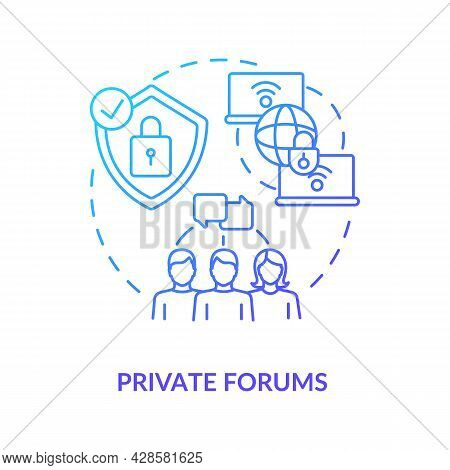 Private Forum Blue Gradient Concept Icon. Secure Chat. Closed Communication Channels. Messaging Soft