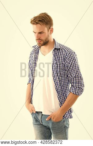 Young Student Isolated On White Backdrop. Mens Casual Urban Fashion Look. Male Grooming And Trend. B
