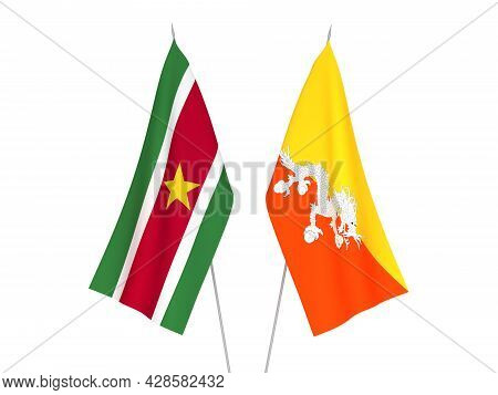 National Fabric Flags Of Kingdom Of Bhutan And Republic Of Suriname Isolated On White Background. 3d