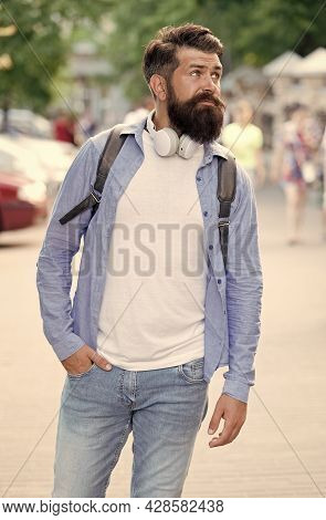 Vacation Concept. Modern Rest. Discover Local Showplace. Backpack For Urban Traveling. Hipster Backp