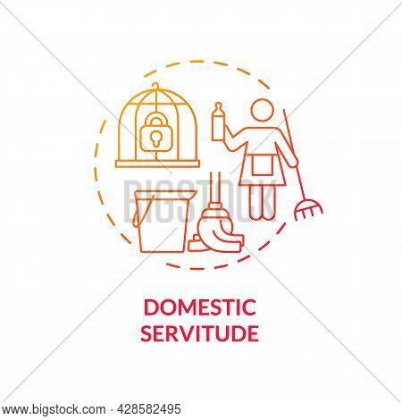 Domestic Servitude Red Concept Icon. Domestic Slavery And Exploitation Abstract Idea Thin Line Illus