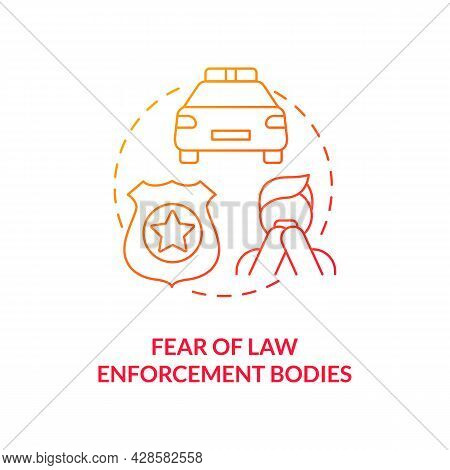 Fear Of Law Enforcement Body Red Concept Icon. Victim Post Traumatic Fear Abstract Idea Thin Line Il