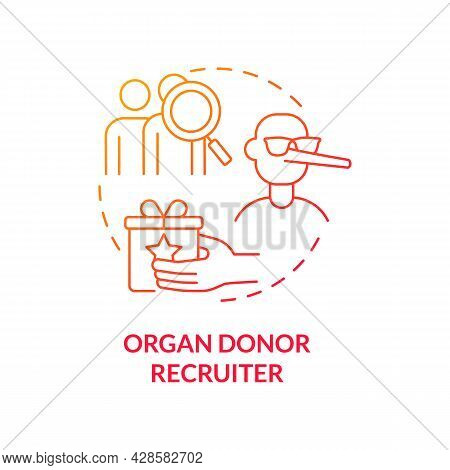 Organ Donor Recruiter Red Concept Icon. Human Recruitment For Transplantation Abstract Idea Thin Lin