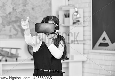 Virtual Work. In A Computer Science Class. Works On A Programing Project. Vr Technology. Schoolchild