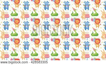Happy Birthday Pattern, Background. Cute Animals Celebrating Together. Rabbit, Rhino, Snake, Lion. H
