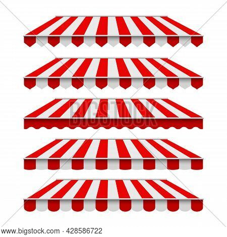 Striped Awnings. Storefront Canopy Set, Grocery Shop Roof Tents Isolated, Cafe Decoration Awning Set