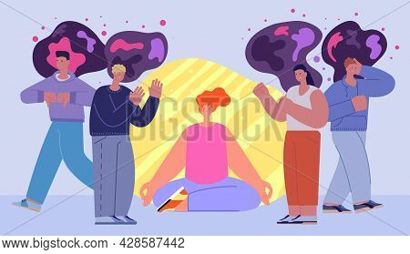 Social Separation. Human Bubble, Cartoon Healthy Mind And Soul In Negative World. Young Person Avoid