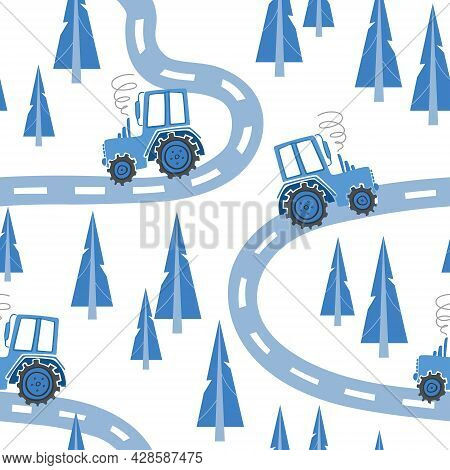 Construction Machinery Seamless Pattern. Cartoon Illustrations For Boys In Scandinavian Style. Tract