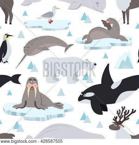 Arctic Animals Pattern. Children Animal Antarctic Print, North Polar Wildlife Background. Nordic Oce
