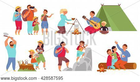 Cartoon Hiking Characters. Travelling People, Funny Woman Travel With Family. Young Group In Camping