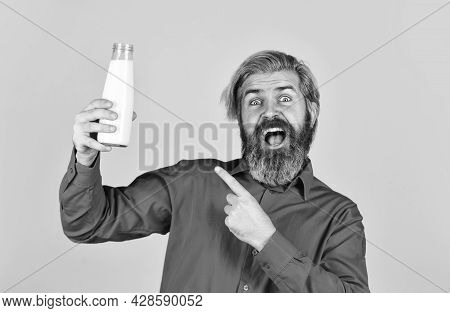 Dairy Products From Milk For Adults And Children. Happy Farmer Present Glass. Bearded Man Drink Usef