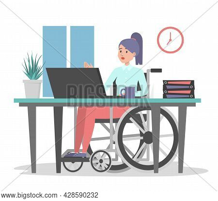 Woman In Wheechair Working In Office, Sitting At The Desk Vector Isolated. Illustration Of A Disable