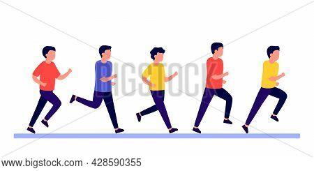 Group People Men Do Run Sport Active, Rush And Hurry. Man Running Marathon Race, Jogging, Racing. Ma