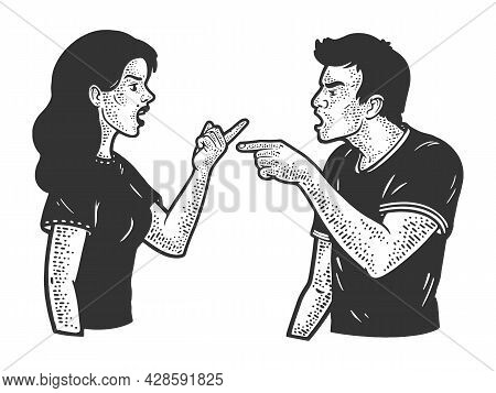 Quarrel Argument In Couple Man And Woman Sketch Engraving Vector Illustration. T-shirt Apparel Print
