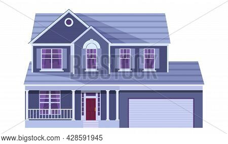 Cute Cartoon House. Two Storey Dwelling Place With Garage. Townhouse Building. Home Facade With Door