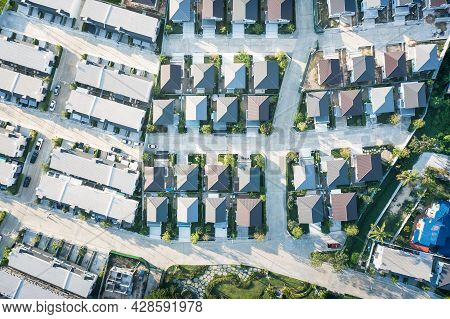 Housing Estate Or Community In Aerial View Consist Of Residential Building In Land Lot. Real Estate