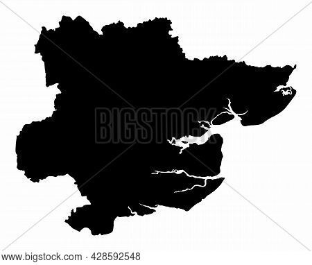 The Essex County Dark Silhouette Map Isolated On White Background, England