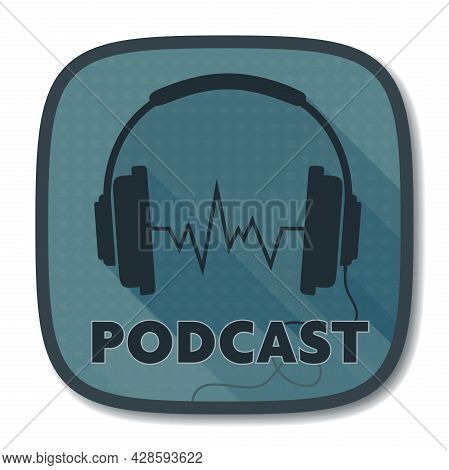 Podcast Icon Or Logo With Stereo Headphone Symbol, Vector Illustration