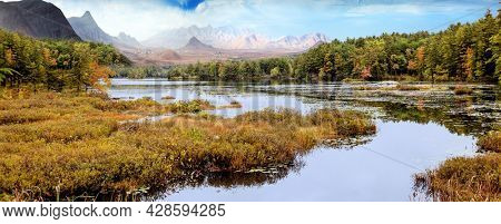 Fantastic landscape with mountains on the horizon