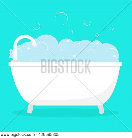Bath With Foam And Soap Bubbles Isolated Vector Illustration. Bathroom Interior Item For Washing. Sa