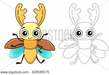 Funny Stag Beetle. Coloring Insect In A Cartoon Style