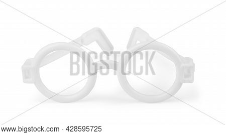 Glasses For Sight. Kids Optical Frame. Plastic Glasses For Reading Are Isolated On A White Backgroun