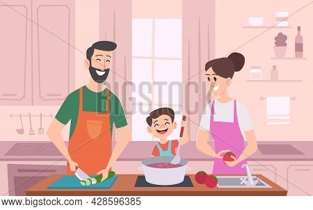 Family Couple Kitchen. Kids With Parents Preparing Food And Serving Table At Kitchen Exact Vector Ca