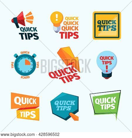 Quick Tips. Creative Promotional Stickers Label Reinders With Place For Text Think Education Message