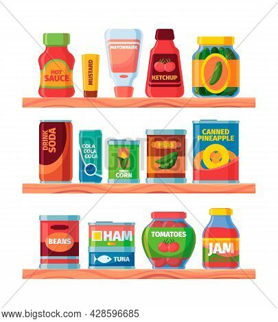 Grocery Food. Supermarket Canned Product On Shelves Packages And Jars With Soup Meal Conserved Fruit