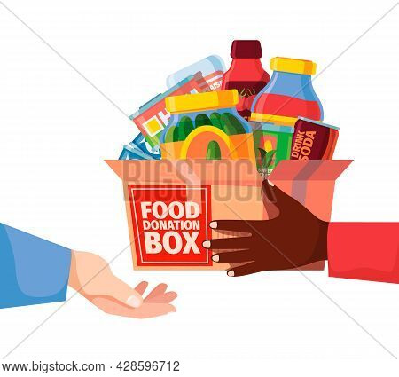 Donation Box. Food Packages And Grocery Containers Donation Volunteers Community Help Campaign Canne