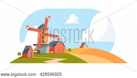 Village Windmills. Cartoon Rural Background Agricultural Landscape With Buildings Water Towers Windm