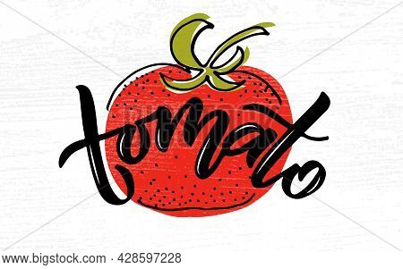 Hand Sketched Tomato Product Lettering Typography. Concept For Farmers Market, Organic Food, Natural