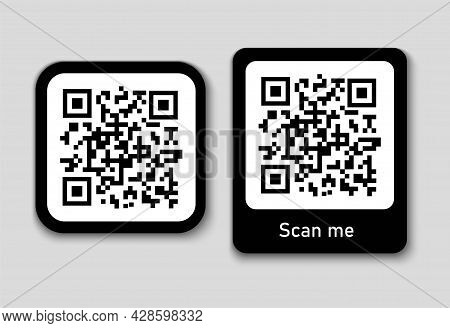 Qr Code. Scanning By Phone. Simple Sticker, Lettering Scan Me. Black Square Code Icon. Laser Reading