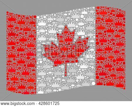 Mosaic Waving Canada Flag Constructed With Royal Items. Royalty Vector Collage Waving Canada Flag Co