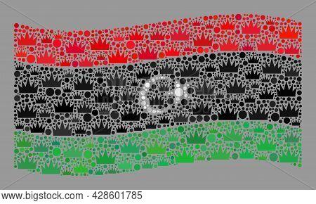 Mosaic Waving Libya Flag Designed Of Royal Elements. Royalty Vector Collage Waving Libya Flag Design