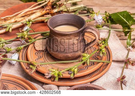 Hot Natural Chicory Caffeine Free Drink In Ceramic Cups On A Wooden Table