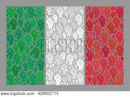 Mosaic Rectangle Italy Flag Designed Of Protest Items. Fight Fist Vector Mosaic Italy Flag Designed